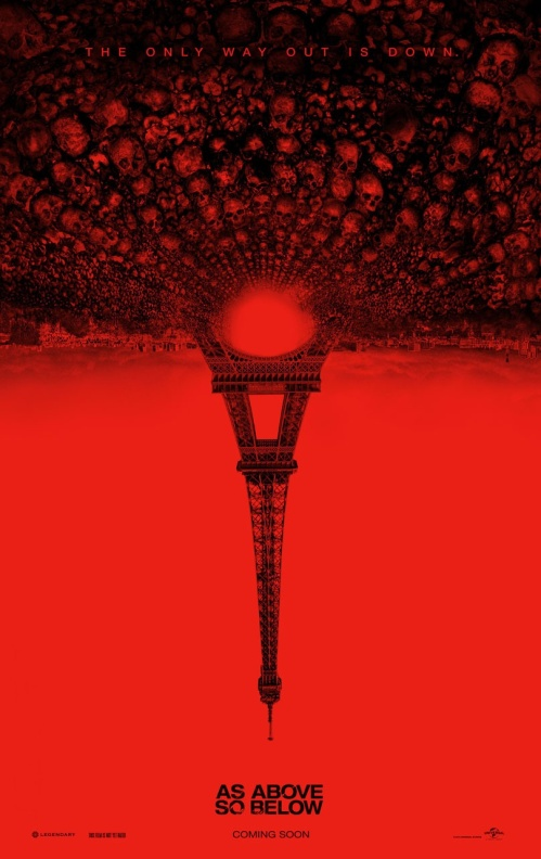 Poster art of film featuring the Eiffel Tower flipped upside down and anchored by an underground field of skulls