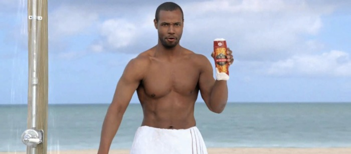 Picture of Old Spice character actor Isaiah Mustafa in an Old Spice commercial