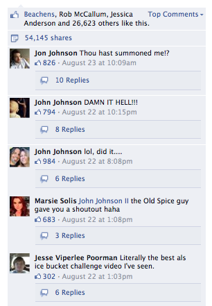 Screenshot of John Johnson related comments posted on Old Spice's Facebook page.