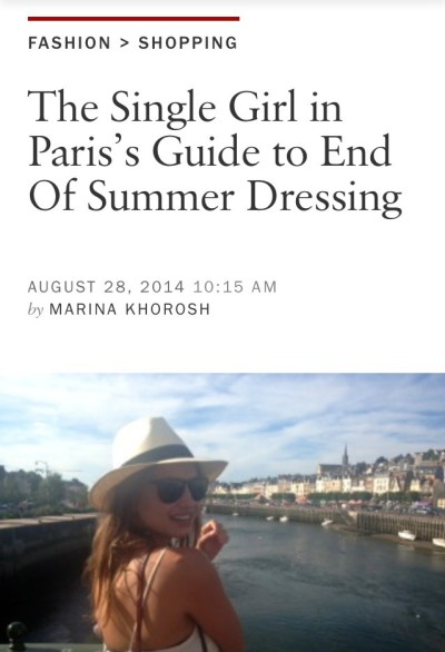 Screenshot of an article page on the Vogue.com website, with the headline: The Single Girl in Paris's Guide to End of Summer Dressing