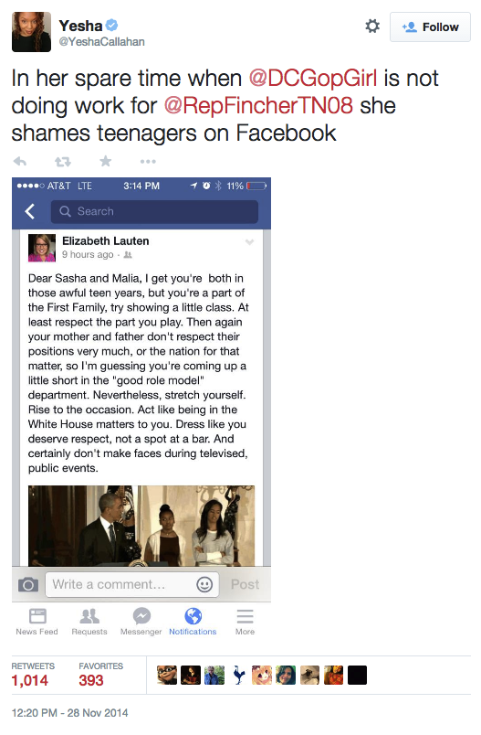 "Callahan's tweet in which she includes a photo of Lauten's Facebook rant. Above the photo, Callahan wrote: ""In her spare time when @DCGopGirl is not doing work for @RepFincherTN08 she shames teenagers on Facebook"""