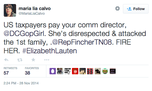 "Calvo's tweet reads: ""US taxpayers pay your comm director @DCGopGirl. She's disrespected & attachked the 1st family, @RepFincherTN08. FIRE HER. #ElizabethLauten"""