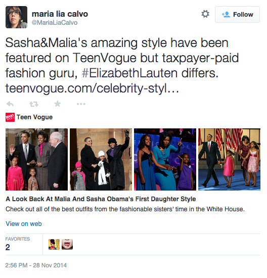 "Calvo's tweet reads, ""Sasha and Malia's amazing style have been featured on Teen Vogue but taxpayer-paid fashion guru, #ElizabethLauten differs."""
