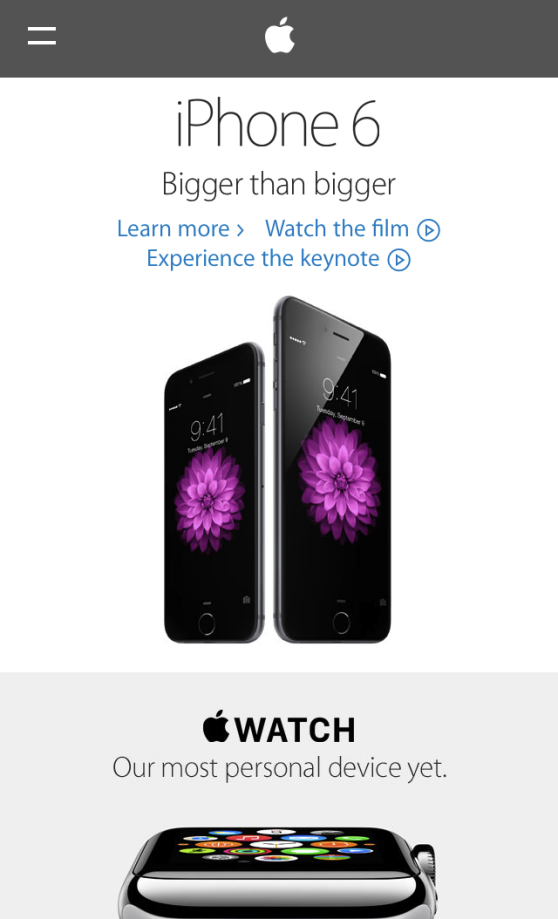 Screenshot of the mobile Apple home page after the redesign