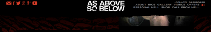 Screenshot of the As Above So Below main nav which includes links for About, Bios, Gallery, Videos, Offers, Personal Hell, Shop and Call from Hell