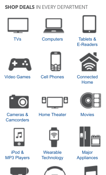 Screenshot of the Best Buy holiday home page on mobile, which features icons for 12 of the 18 different categories