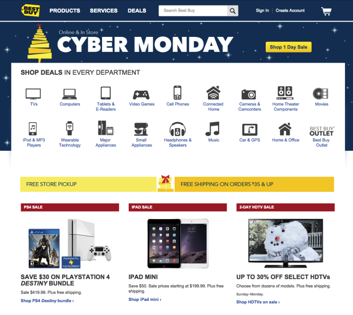 Screenshot of the Best Buy holiday home page on Cyber Monday, which features icons for 18 different categories
