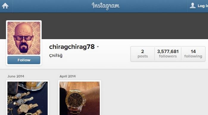Screenshot of chiragchirag78's Instagram account before The Purge