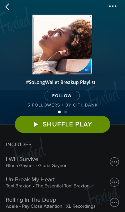 Screenshot of a Foxied version of the Citibank #SoLongWallet playlist within the Spotify app