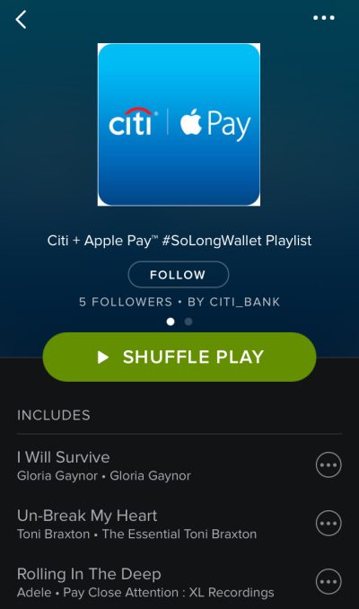 Screenshot of the Citibank #SoLongWallet playlist within the Spotify app