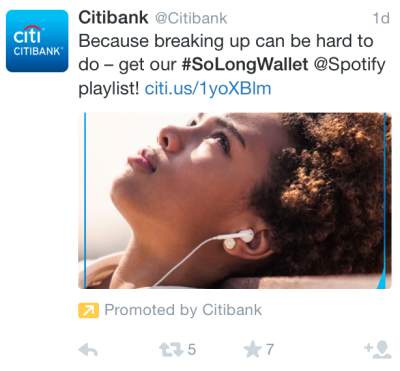 """A Citibank tweet featuring a melancholy woman wearing headphones, listening to music; with copy that reads, """"Because breaking up can be hard to do -- get our #SoLongWallet @Spotify playlist!"""""""