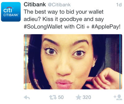 """A Citibank Tweet featuring a woman puckering up for the camera, with the copy: """"The best way to bid your wallet adieu? Kiss it goodbye and say #SoLongWallet with Citi + #ApplePay"""