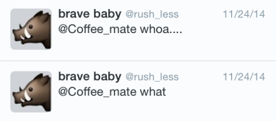 """Mobile screenshot of 2 Coffee-mate tweets from @rush_less with the copy: """"@Coffee_mate whoa..."""" and """"@Coffee_mate what"""""""