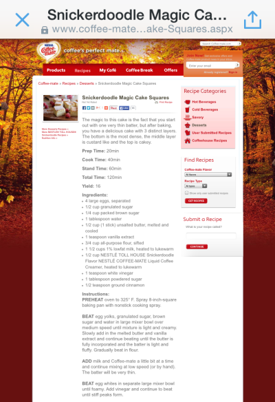 Mobile screenshot of Coffee-mate recipe web page for Snickerdoodle Magic Cake Squares