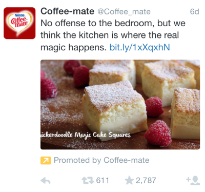 """Mobile screenshot of Coffee-mate tweet with the copy, """"No offense to the bedroom, but we think the kitchen is where the real magic happens,"""" alongside a bit.ly URL and an image of snickerdoodle magic cake squares"""