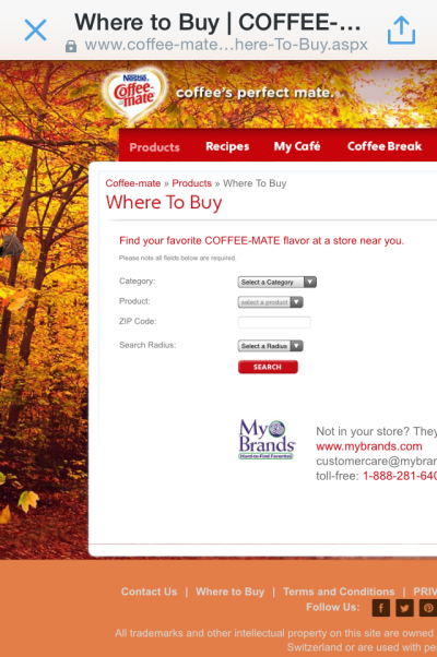 Mobile screenshot of Coffee-mate Where To Buy web page