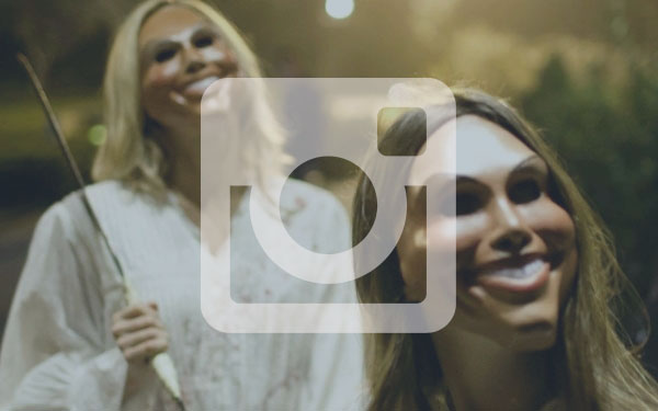 Image of Instagram icon over a promo still from The Purge film