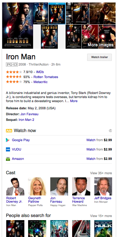Screenshot of the knowledge card that appears on the SERP for Iron Man 2008; it shows ratings for the movie, a description, links to watch the movie on Google Play, Vudu and Amazon, and links to pages about the Cast and similar films
