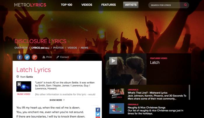 Screenshot of the MetroLyrics lyrics detail page for the Disclosure song, Latch