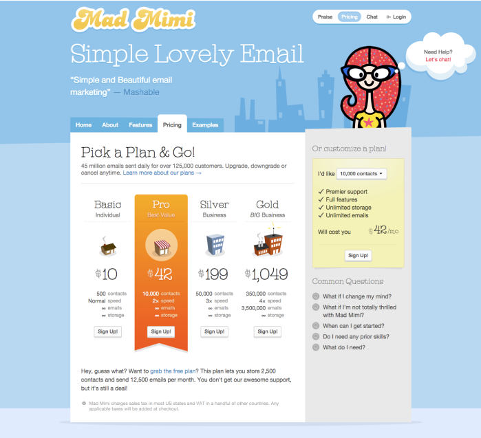 Mad Mimi pricing table control