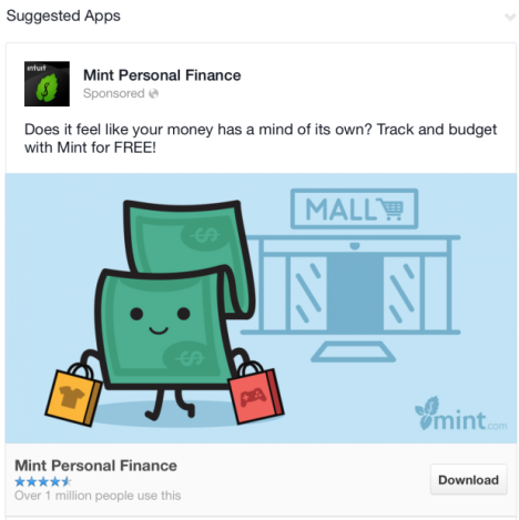Mint Facebook featuring a dollar sign leaving a mall holding two shopping bags