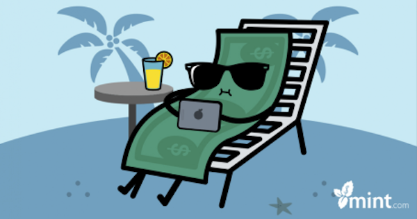 Screenshot of a Mint Facebook ad in which a cartoon dollar is relaxing on a lounger, wearing sunglasses, and perusing an iPhone