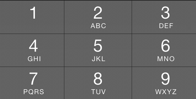 Screenshot of the number pad in the PHHHOTO app