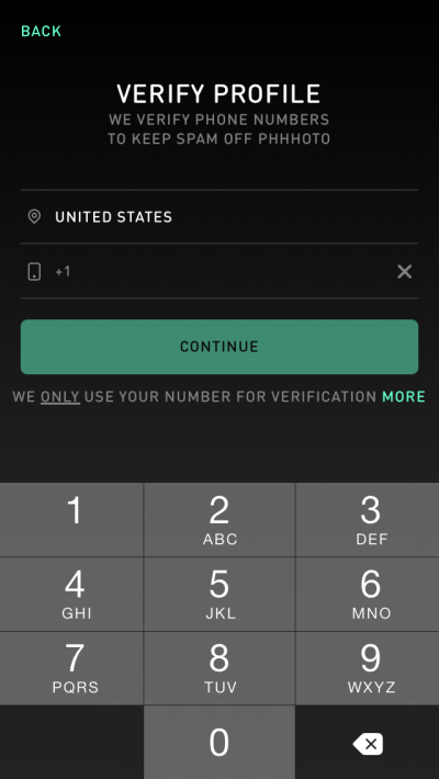 Screenshot of the phone verification form within the app