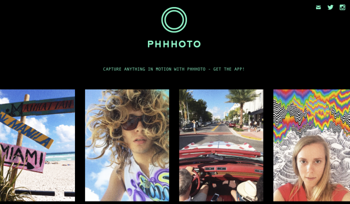 Screenshot of PHHHOTO logo with pictures of GIFs created via the app