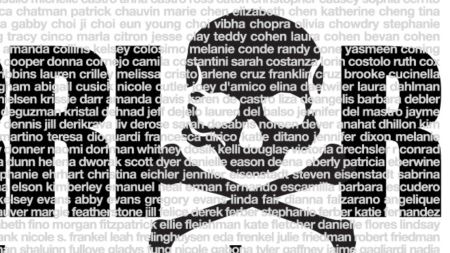 Close up screenshot of names appearing in the background, behind the skull and crossbones