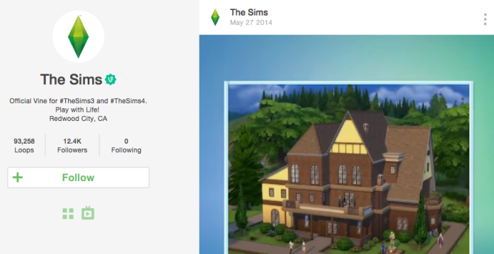 Screenshot of The Sims Vine account page