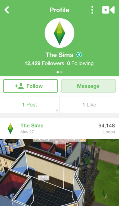 Screenshot of The Sims account page on Vine