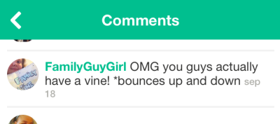 "Screenshot of a user comment on The Sims's Vine channel, which reads, ""OMG you guys actually have a vine! bounces up and down"""