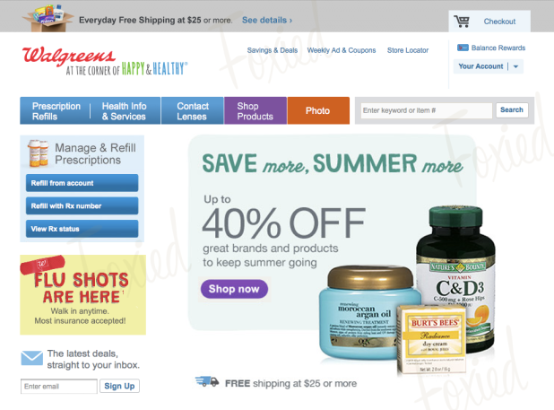 Image of a Foxied version of Walgreens home page
