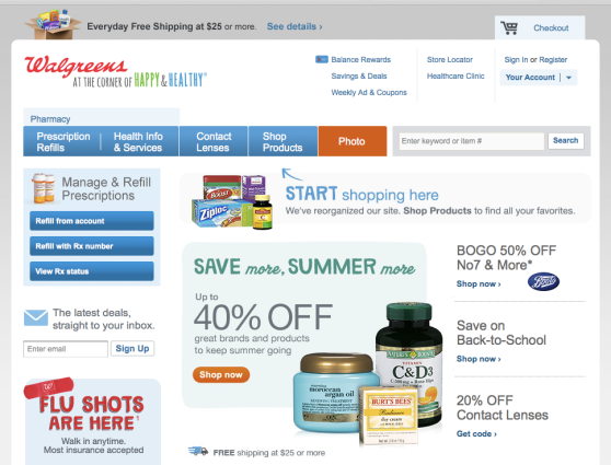 Screenshot of the Walgreens home page