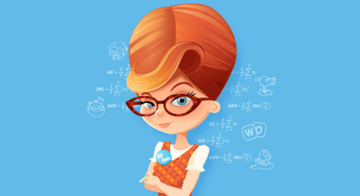 Image of Annie of App Annie surrounded by mathematical equations