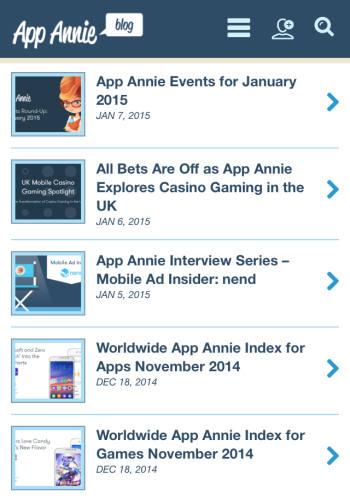 Screenshot of the Products landing Charts page on the App Annie website as viewed on a smartphone