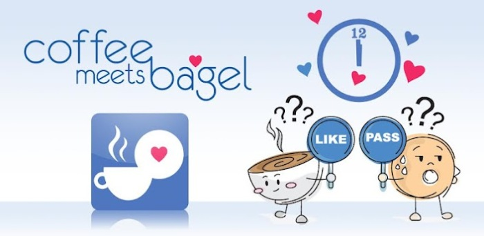 Image of the Coffee  Meets Bagel logo alongside cartoon drawings of a personified cup of cofee holding a Like sign and a personified bagel holding a pass sign