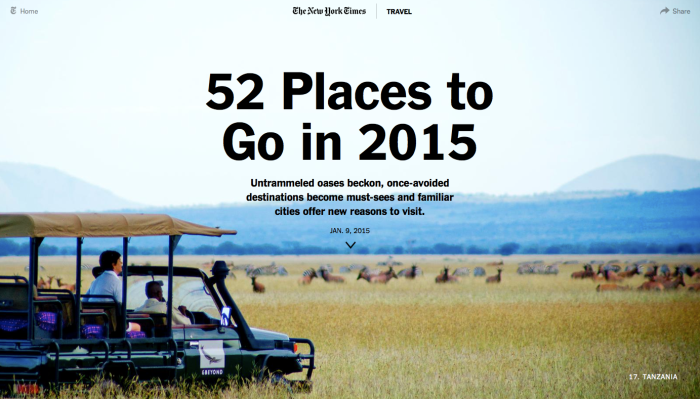 Screenshot of the New York Times 52 Places to Go in 2015 article page, with a picture of a jeep with passengers on safari in Tanzania in the background
