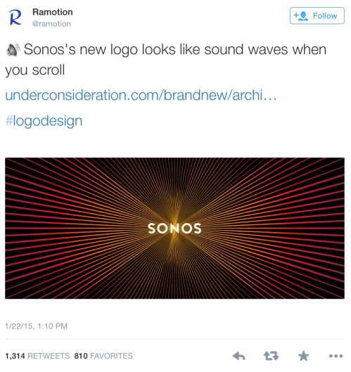 """Screenshot of Ramotion's tweet which reads: """"Sonos's new logo looks like sound waves when you scroll"""""""