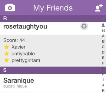 Screenshot within the Snapchat app, showing the best friends of a user's friend named rosetaughtyou