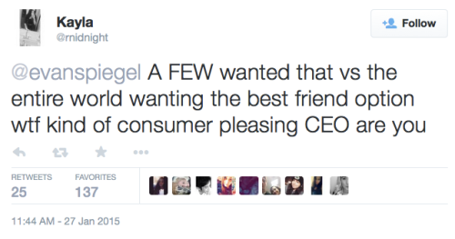 @midnight reply to Evan Spiegel's tweet: A FEW wanted that vs the entire world wanting the best friend option wtf kind of consumer pleasing CEO are you