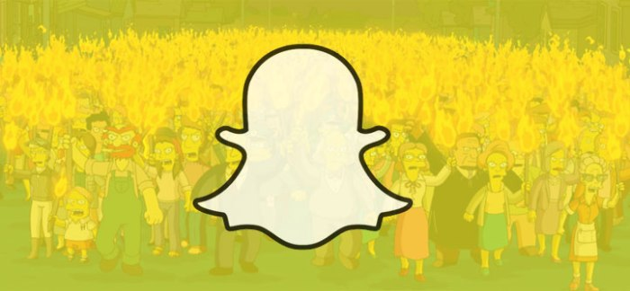 "Image of Snapchat ghost logo against a background of an angry mob of characters from ""The Simpsons"""