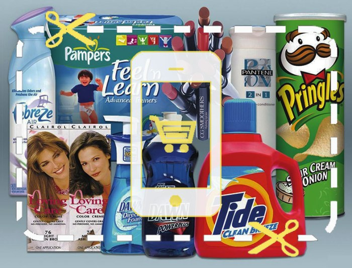 Image of an iPhone overlayed on top of a number of consumer products including Tide, Pringles, Pampers and Febreeze