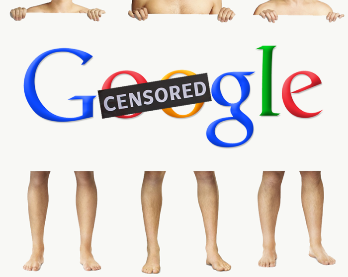"Images of three men holding a sign over their torsos, which boasts the Google logo with the word ""Censored"" slapped over the two oo's in Google"