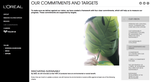 Screenshot of a L'oreal web page on their commitment to sustainability and targets for 2020