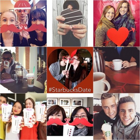 9 images scrapbooked together of young people holding cofee and/or cutesy props while attending the World's Largest Starbucks Date at a participating location.