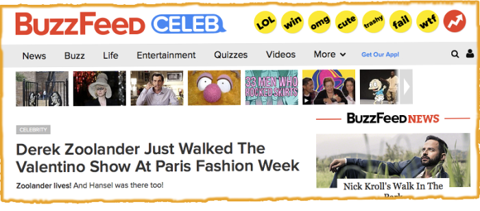 Screenshot of a BuzzFeed web page