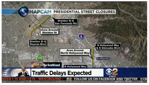 Screenshot of a video still from a CBS2 news story on the road closures, embedded on an article page on the CBS LA website
