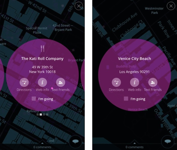 Two screenshot from the FyFly app showing detail state for a sushi restaurant in Manhattan, and Venice City Beach in California